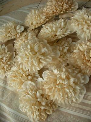 Bouquet 14 stems antique French 1890s handmade wax paper convent flowers