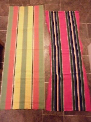 2 x Vintage Lengths Striped Deck Chair Canvas Fabric