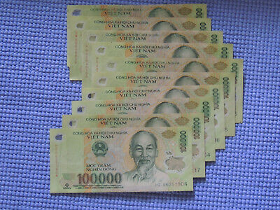 Vietnam 100,000 Dong x 5 - 500,000 Currency VND Banknotes