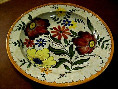 Gouda Charger with Red and Yellow Flowers Signed Bertino