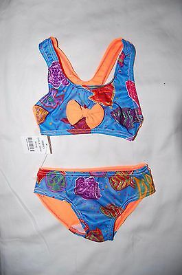 Bikini with Bow Sea Creatures Front Plain Back Age 6-12 Months New SHOPSOILED