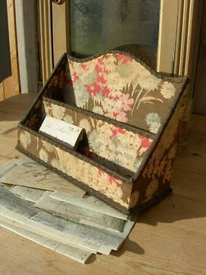 Divine antique French fabric covered boudoir letter rack & 19thC letters