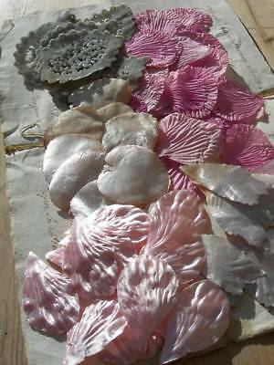 Collection 82 vintage French 1920s millinery /costume silk velvet flower petals