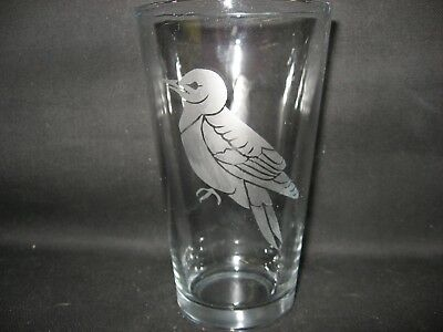 New Etched Red-Headed Woodpecker Pint Glass Tumbler