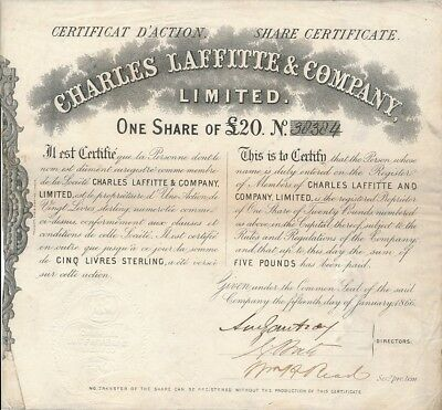 Charles Laffitte & Company Limited.-one Share of 20 Pfund-15.1.1866 UK! Nr.38384
