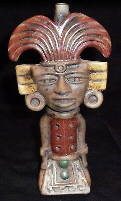 Large Vintage Aztec Mayan Figural Man God Folk Art Clay Pottery Flute Whistle