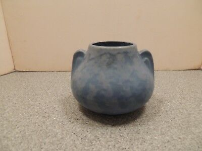 Vintage Arts and Crafts Matt Blue Handled Vase Art Pottery