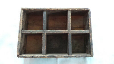 Vintage Small Primitive Wooden Box Six Compartment Wall Crate Handmade Steampunk