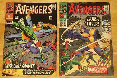 1966 AVENGERS No. 31 Fine- 5.5 and 34 VG+ 4.5 Last Full Stan Lee Book No Reserve