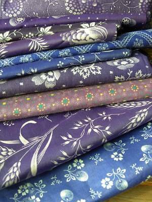 Bundle 10 antique French 1900 unused small dimity print cotton fabrics - quilts