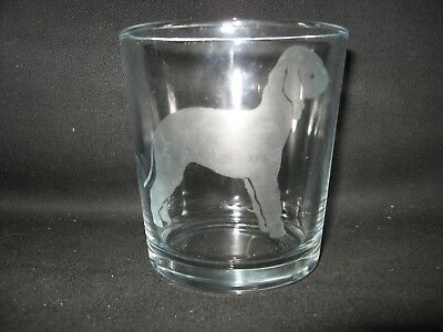New Etched Bedlington Terrier Full Body Old-Fashioned Rocks Glass Tumbler