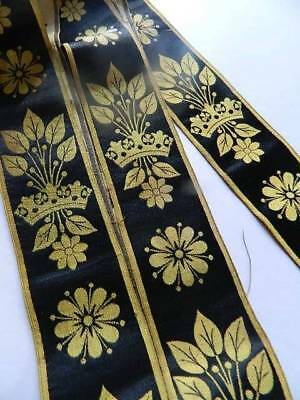 """Antique French silk woven ribbon  trim in black and gold - 2"""" x 225"""" (6yards)"""