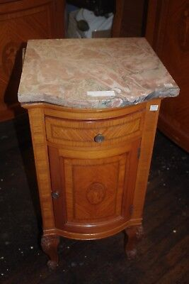 Night Table Stand (Antique Oak Wood Bedroom Inlaid Flowers Marble)