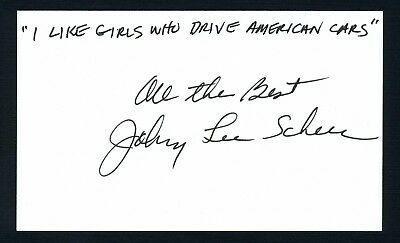 """Johnny Lee Schell Film Score Composer, Rock Band """"Baby""""  Signed 3x5 Card C8159"""