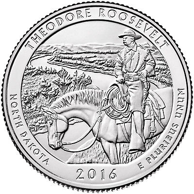 2016 P-D-S Theodore Roosevelt National Park Quarters 3-coin set from mint rolls