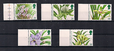 1993 Gb Qeii Royal Mail Orchids Commemorative Margin Edge Stamps Sg 1659 - 1663