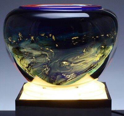 Rare 1996 Signed Toan Klein Studio Art Glass Galaxy Bowl Vase On Lighted Stand