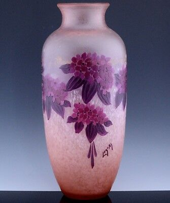 MASSIVE c1930 ART DECO SIGNED LEGRAS FLOWER SCENIC FRENCH CAMEO CUT GLASS VASE