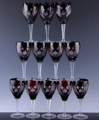 Exceptional Quality Set 12 Large Bohemian Red Cut To Clear Wine Glasses Goblets