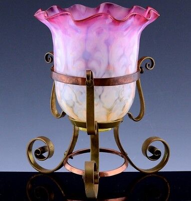 Vry Pretty Victorian Cranberry Opalescent Glass Flower Vase In Orig Bronze Stand