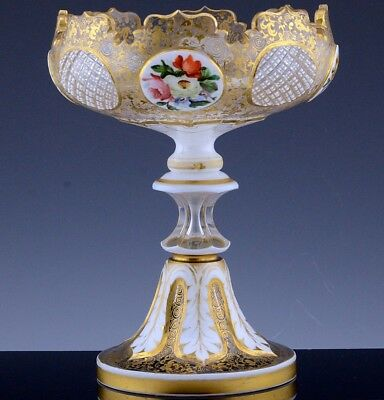 FINE c1880 BOHEMIAN MOSER ENAMELED FLOWERS WHITE CUT TO CLEAR GLASS COMPOTE BOWL