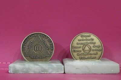 Recovery coins AA 3 Year Bronze Medallion tokens sobriety affirmation birthday
