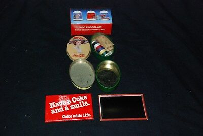 Coke Cola Thimble Set, Travel Sewing Kit, And Other Collectibles