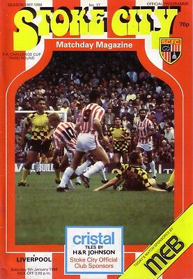 STOKE v LIVERPOOL 1987/88 FA CUP 3RD ROUND