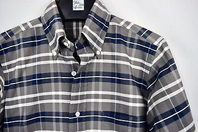 THOM BROWNE White Navy Gray Plaid Check Cotton Button Front Shirt 0 Men s XS b5a1accfc68a