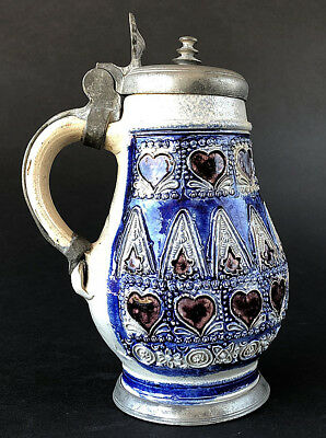 UNBEATABLE!!! exquisite small WESTERWALD TANKARD / MUG with pewter mount, 1690