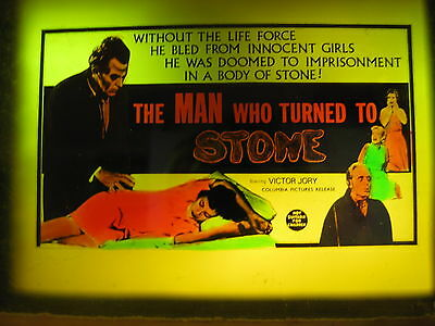 MAN WHO TURNED TO STONE Australian cinema movie projector glass slide horror