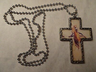 Female Barrel Racer, Horse, Cross On Chain Necklace, In Great Shape