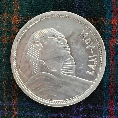 Egypt 10 Qirsh Piastres 1957 - XF, Silver, Sphinx Infestation!