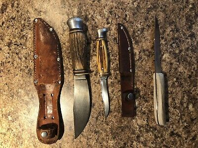 Lot Of 3 Vintage Knives - Ka-Bar, German, Hammerbran -  Bone & Antler Handles