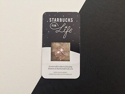 Starbucks For Life 2016 Prize Card Collectible