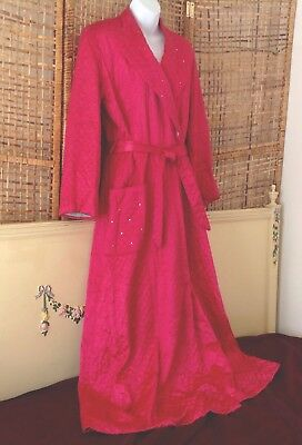 Vintage 40's Deco Old Hollywood Quilted Robe Rhinestone Lapel