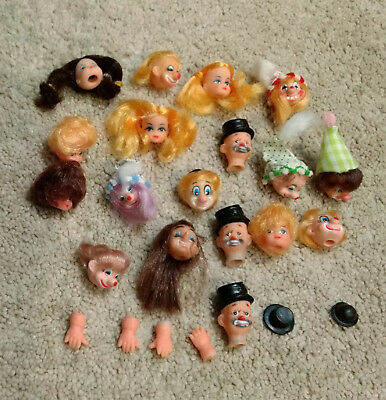 x24 Vintage Doll Heads/Faces/Hats/Hands/Parts-Hair/Blonde/Brown-Clowns/Girls/Man