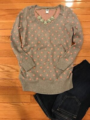 Polka Dot Maternity Sweater, Size Small, Old Navy, Grey And Pink