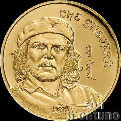 CHE GUEVARA 24K GOLD COIN - 1/2 Gram 14mm - 2018 Mongolia 1000 Togrog ONLY 5000