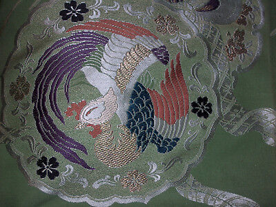 Magnificent Japanese Silk Brocade Textile Kimono Fabric Phoenix Fan Green 91""