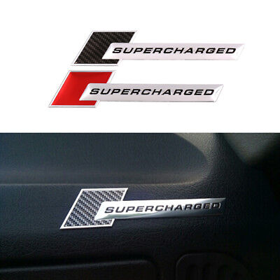 3D Aluminum SUPERCHARGED Emblem Car Stickers Tail Fender Badge Light & Thin