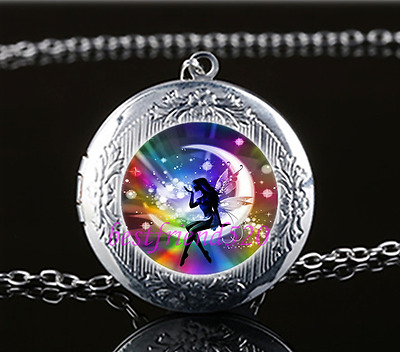 RAINBOW FAIRY moon locket silver opens MYSTICAL ANGEL glass necklace pendant NEW