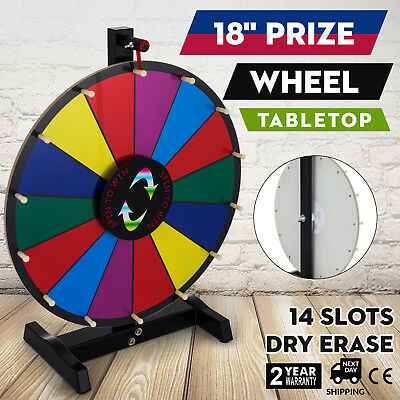 """18"""" Tabletop Color Prize Wheel Spinnig Game Stand Holiday Carnival Fortune"""