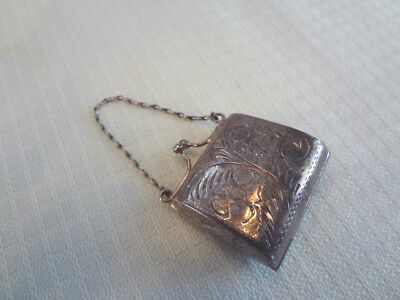 Fabulous Early Sterling Tiny Chatelaine Coin Purse - Hallmarked