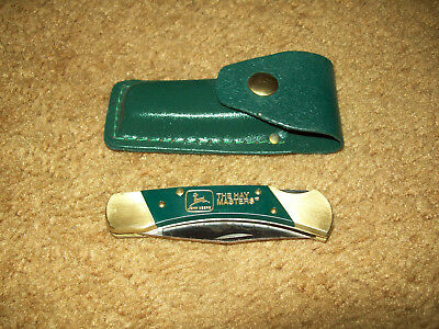 John Deere Tractor The Hay Masters Coyote Pocket Knife With Green Belt Pouch