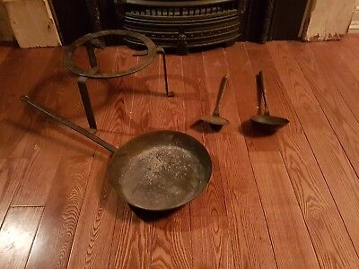 Awesome Hearth  Old Cooking Tools..stand,handled Pan.and Tools
