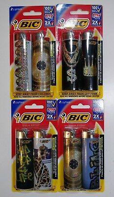 Lot of 8 Bic Special Edition Lighters Full Size Long Lasting 4 Packs of 2=8