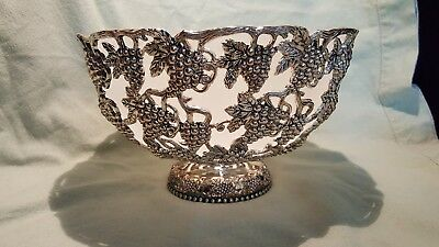 """Godinger grapevine silver bowl with white frosted glass insert bowl. 10 1/2"""""""