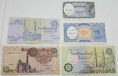 Egyptian Currency Notes, 5, 10, 25, 50 Piastres & 1 Pound, Uncirculated. L # N31