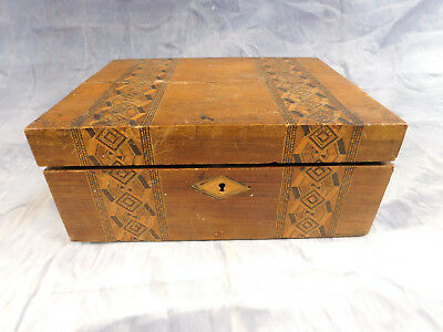 Antique Lap Slope Travel Writing Desk Wood Inlaid Box w/ Storage Compartment